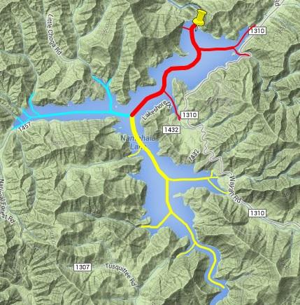 Click image for larger version.  Name:Nantahala lake channels Gmaps.jpg Views:100 Size:110.2 KB ID:64128